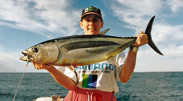 Rebecca Dore with a big 9.5kg albacore tuna taken off the Kaikoura Coast.