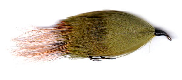 Hamills Killer dyed with mallard breast feathers dyed green.