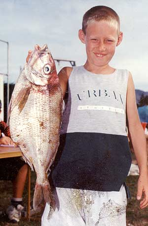 Christopher Inch with a good sized 2.05kg tarakihi caught off the Canterbury coast.