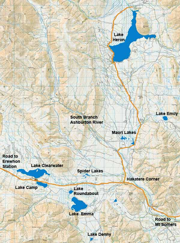 Ashburton Lakes Fishing Map. Sourced from LINZ. Crown Copyright Reserved.
