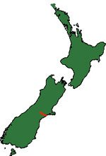 New Zealand Map showing Ashburton River.
