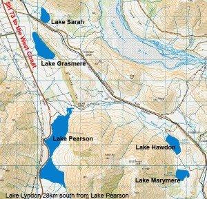Pearson Lakes: Sarah, Grasmere, Pearson, Hawdon, Marymere and Lyndon