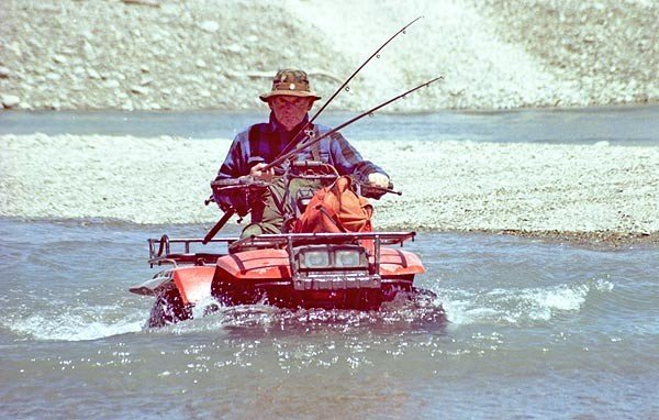 This quad bike near the mouth of the Rangitata River seems able to handle being almost submerged as its rider crosses a braid to reach good salmon water. Quad bikes are also useful for launching small boats.