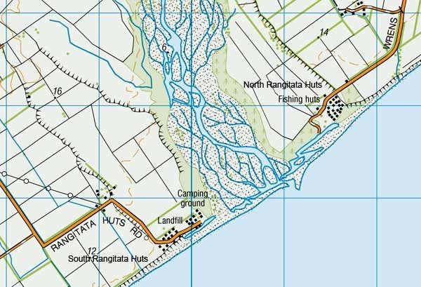 Rangitata River Mouth - North and South Rangitata Huts, South Canterbury - Map: 1:50,000. Each grid square represents 1 km. Maps Sourced from NZTopo50-BZ20.