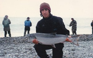 Salmon caught in the surf at the mouth of the Rangitata River.
