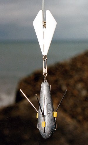 Breakaway Tackle surf fishing Lead Lift. The vane is plastic with a tough stainless steel wire to connect your sinker with an oval split-ring.