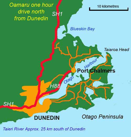 Quinnat salmon are taken from the wharves in the inner harbour and by trolling from boats both inside and outside Taiaroa Head.
