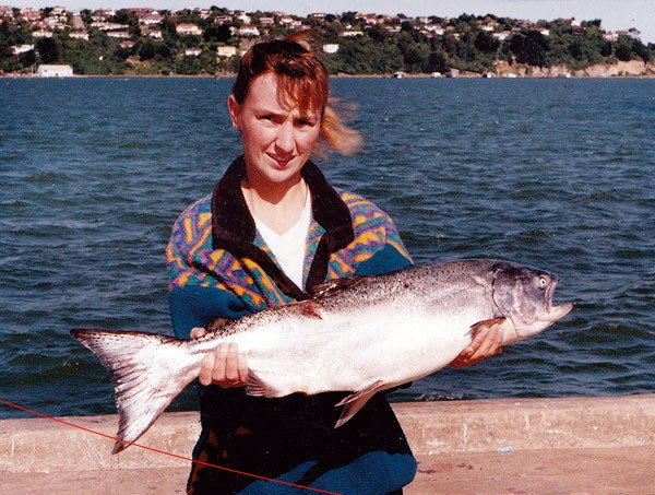 Amazingly big salmon like this one can be caught right in the middle of Dunedin City.