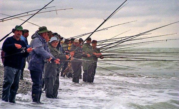Rangitata River mouth salmon surf anglers.