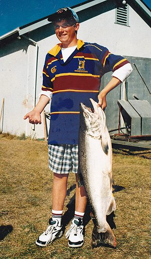 A very big Waitaki River salmon taken during one of the fishing contests held on the river.