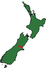 Map of New zealand showing Waimakariri River.