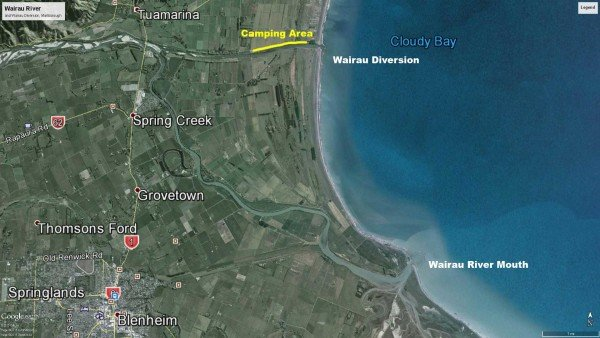 Wairau Diversion and the Wairau River Mouth. The camping area popular with whitebaiters is shown as a yellow line near the top of the map. Map: Google Earth/