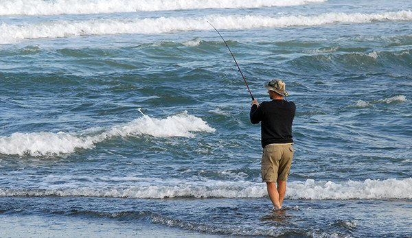 Spinning for kahawai at the mouth of the Wairau River. There are usually a few kahawai about at the Wairau River mouth - though sometimes there are a lot of smaller fish.