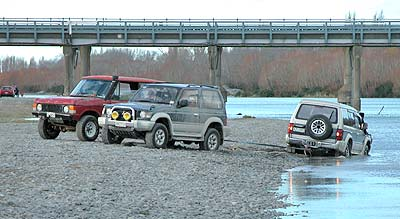 These two 4wd's pulled the Mitsubishi out no problem.