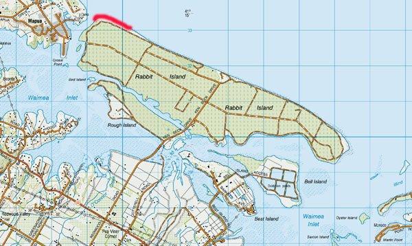 Map: Rabbit Island, near Richmond, Nelson.