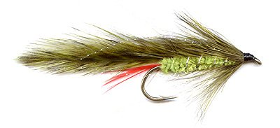 Green Orbit Trout Lure - Tied with olive hackles.