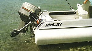 A good view of the McLay 460 showing the Portofino style transom and tough polyurethane coated sides.