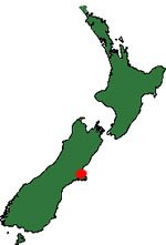 New Zealand map showing Christchurch