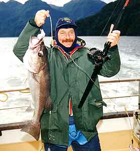 The author with a Fiordland groper taken on the rig described in this article.