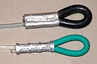 The top loops are protected with armour spring or plastic tube.