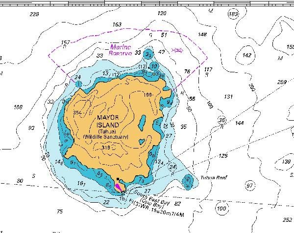 Map sourced from NZ541. Crown Copyright Reserved. Depths in metres. Mayor Island is known to Maori as Tuhua. It is 22 nautical miles from Mount Maunganui in the Bay of Plenty.
