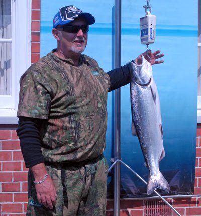 Salmon caught during the recent Rakaia River Salmon Fishing Contest. It weighed about 4kg. Again typical of the salmon this season