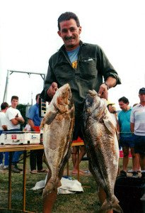 Dave Tucker with a fine brace of big trumpeter taken off the Canterbury Coast - 9.5kg and 11kg.