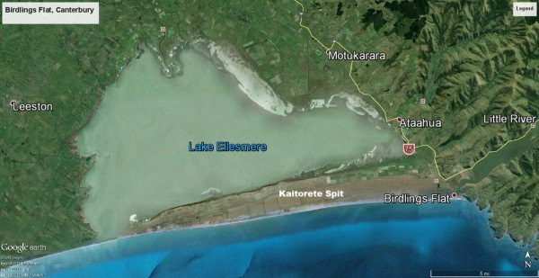 Kaitorete Spit is 25kms long. It runs southwest from Banks Peninsula and separates the shallow Lake Ellesmere from the Pacific Ocean. Map courtesy of Google Earth, TerraMetrics, Digital Globe and CNES/Astrium.