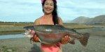 Bikini trout weighing 14.4 pounds landed at the confluence of the Pukaki and Ohau Canals.