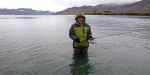 Nantyia dressed like an Eskimo while fishing at Lake Benmore.