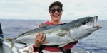 Nantiya with a huge 28lb yellowtail kingfish. Photo courtesy of Roland Brunner.