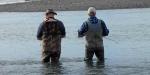 Fishing the Hurunui River gut, February 2017.