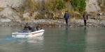 Jet-boat in the Hurunui River lagoon.