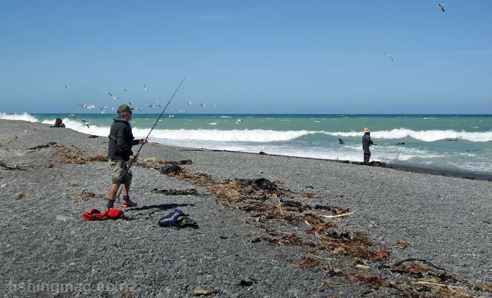 The sea off the Hurunui River mouth looks rough. A couple of days of nor-west wind soon flattens it out.