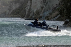 Jet-boat heading up-stream from the Hurunui River mouth February 2017.