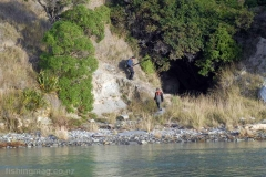 Walking down the steep cliff track to access the Hurunui River mouth. Going back up can be hard work on a hot nor-west day while wearing waders and carrying all your gear, plus hopefully a salmon or two!