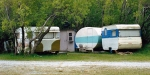 More old caravans at the Harper end of Lake Coleridge back in the 1990s.