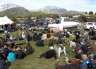 Part of the crowd of anglers gathered for the fishing contest prize-giving at Ryton Bay, Lake Coleridge.