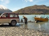 Hauling a boat onto a trailer at the head of Lake Coleridge on Opening Day.