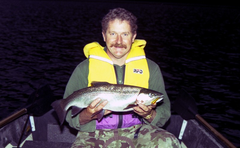 Allan Burgess with a good rainbow trout taken on Lake Selfe.