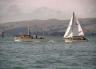 Otago Harbour - Yacht under tow.