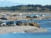 4x4s near the Rakaia River mouth during the fishing contest.