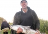Andy with a Waimakariri River salmon.
