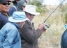 The angler purchased the French reel when aged 18. Waimakariri River fishing.