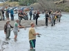 Anglers line the banks of the lower Waimakariri River hoping to hook a salmon during the competition.