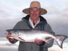 Waimakariri River salmon, weighing 12 pounds, caught by Dave on 26 March 2007 while visiting from Australia.  Congratulations are in order as Dave had only arrived in the country the day before! It was taken on a silver zed spinner down at the river mouth. 26-3-2007