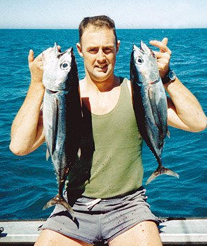 Darryl French with a brace of albacore.