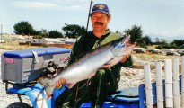 Allan Burgess with 26 pound salmon at the Rangitata River.