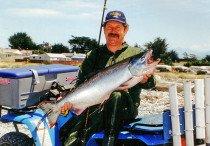 Allan Burgess with 26 pound salmon at the Rangitata River.