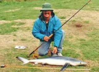 Howard Lewis of Canterbury with a blue shark taken on SWF gear. Note the Alvey Saltwater Fly Reel. This is a relatively inexpensive saltwater fly reel well capable of landing big sea fish.